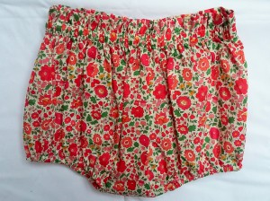 Bloomer en Liberty D'Anjo rouge/rose, taille 18 mois.