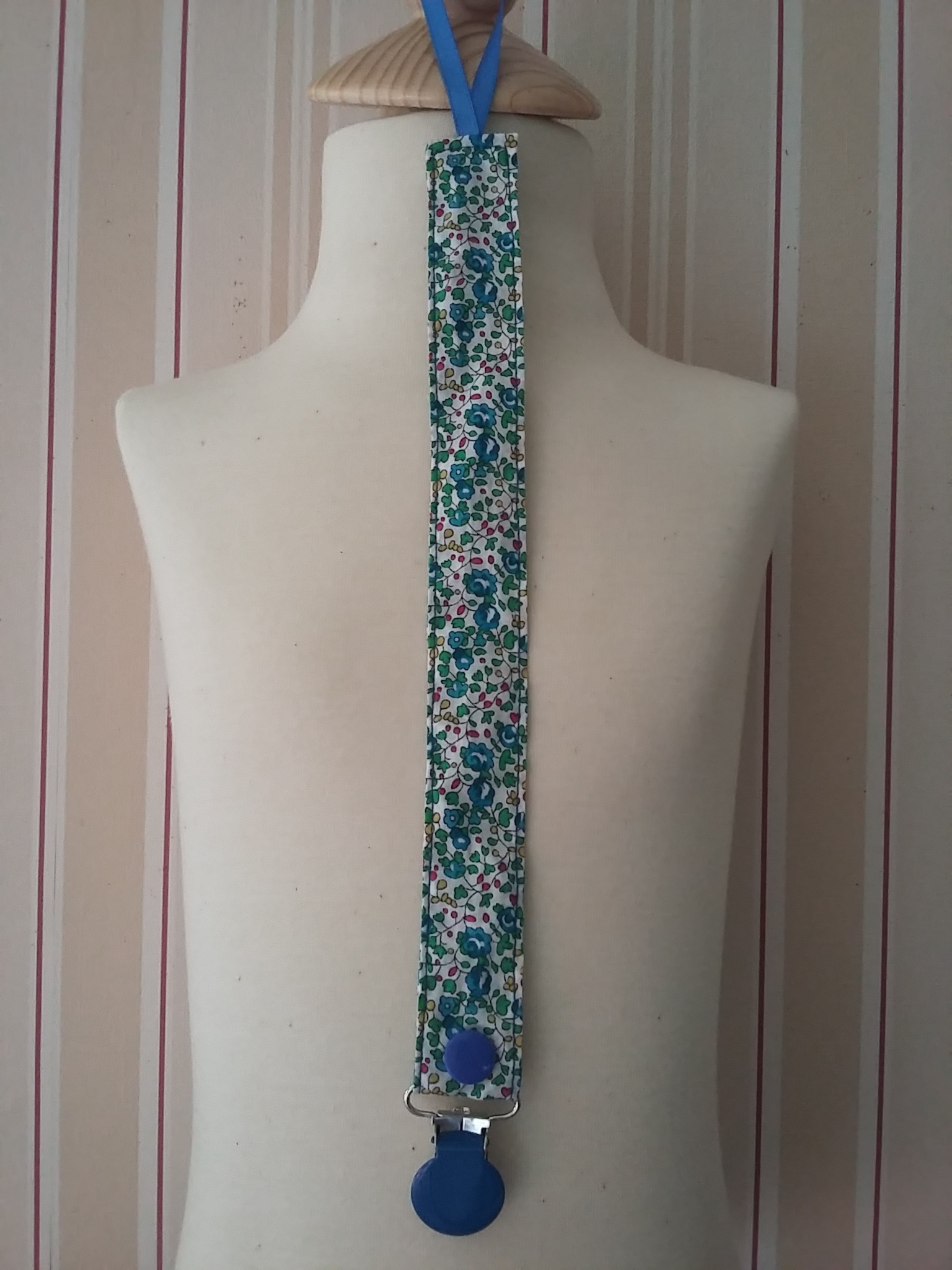 Attache-tétine Liberty Eloise bleu et vert